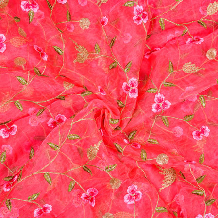 Pink Golden Floral Organza Embroidery Fabric-19113