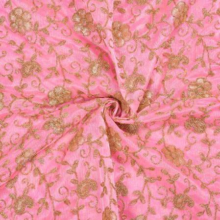 Pink Golden Floral Organza Embroidery Fabric-22151
