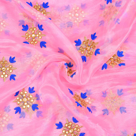 Pink Golden Floral Organza Embroidery Fabric-22152