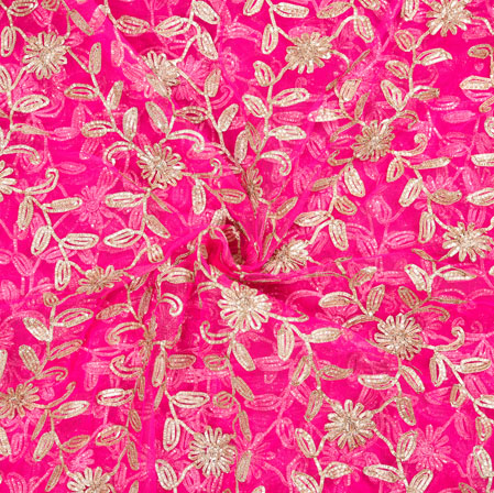 Pink Golden Floral Organza Embroidery Fabric-22155