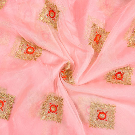 Pink Golden Floral Organza Embroidery Fabric-22157