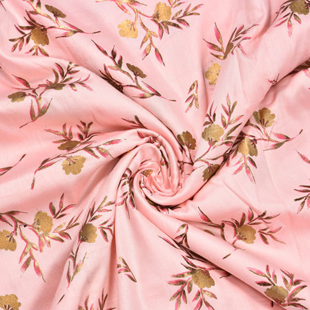 Pink Golden Floral Rayon Fabric-16227