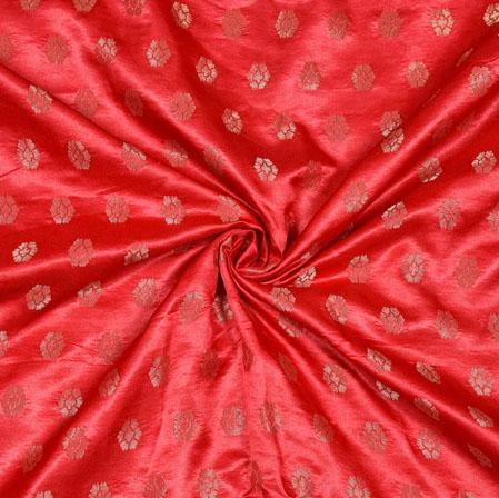 Pink Golden Floral Satin Brocade Silk Fabric-12808