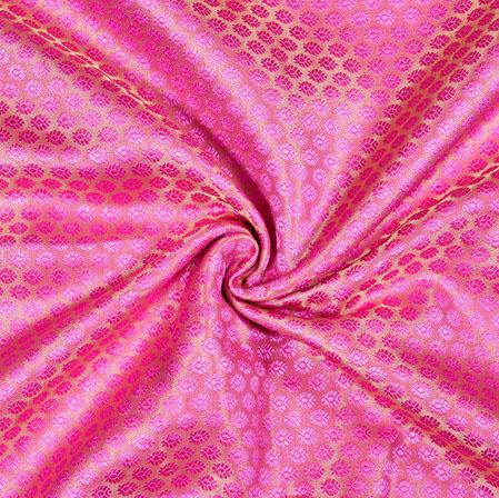 Pink Golden Flower Brocade Silk Fabric-12912