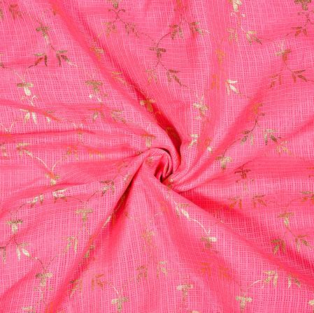 Pink Golden Flower Foil Work Kota Doria Fabric-42582