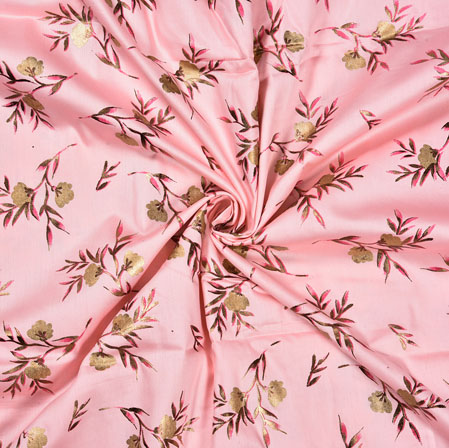 Pink Golden Flower Jam Cotton Print Fabric-28387