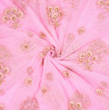 Pink Golden Flower Organza Embroidery Fabric-22184