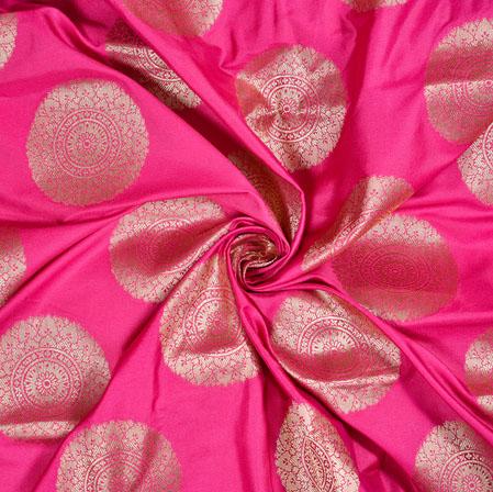 Pink Golden Gola Brocade Silk Fabric-12947