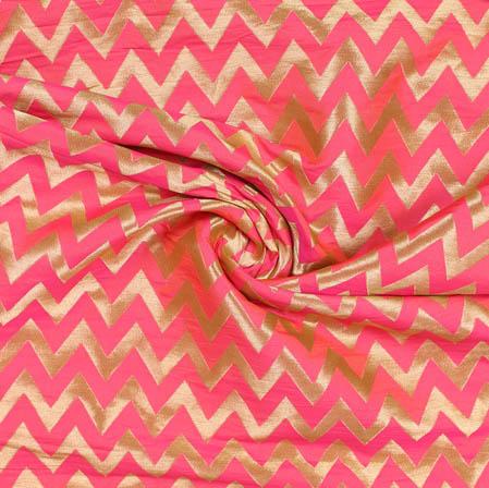 Pink Golden Ikat Banarasi Silk Fabric-9389