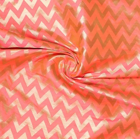 Pink Golden Ikat Banarasi Silk Fabric-9394
