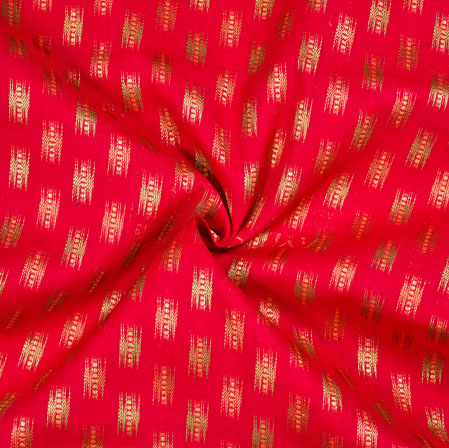 Pink Golden Ikat Cotton Jacquard Fabric-28133