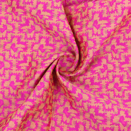 Pink Golden Jacquard Cotton Fabric-9014