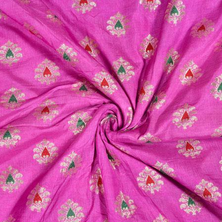 Pink Golden Leaf Brocade Silk Fabric-12952