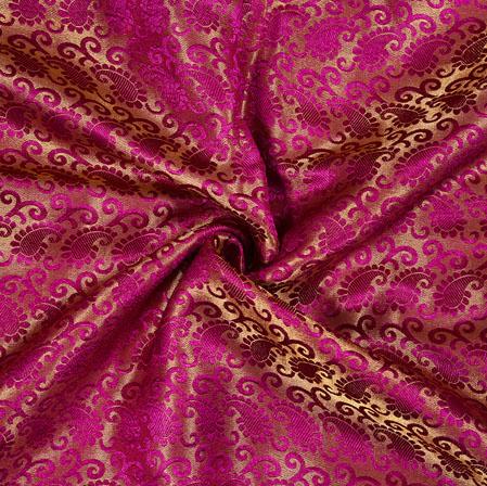Pink Golden Paisley Brocade Silk Fabric-12897