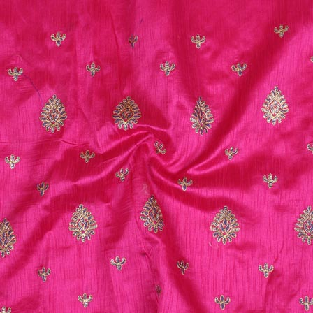 Pink Golden Paisley Embroidery Silk Fabric-61020