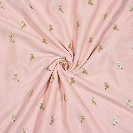 Pink Golden Polka Chinon Embroidery Silk Fabric-18919