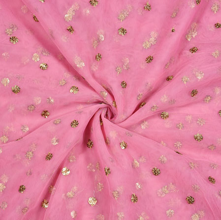 Pink Golden Polka Net Fabric-18900