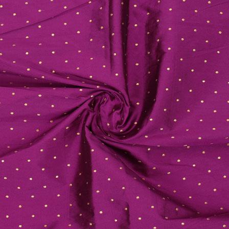 Pink Golden Polka Taffeta Silk Fabric-9059