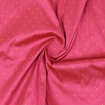 Pink Golden Polka Taffeta Silk Fabric-9061
