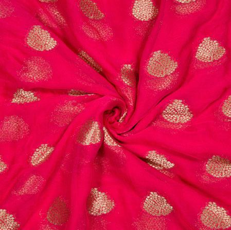 Pink Golden Tree Chiffon Nazmin Fabric-41156
