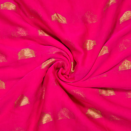 Pink Golden Tree Chiffon Nazmin Fabric-41162