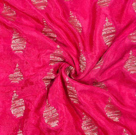Pink Golden Tree Georgette Viscose Boota Fabric-41144