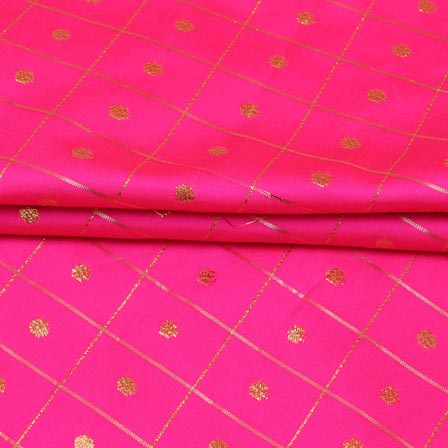 Pink Golden Zari Checks Dot Brocade Silk Fabric-9245