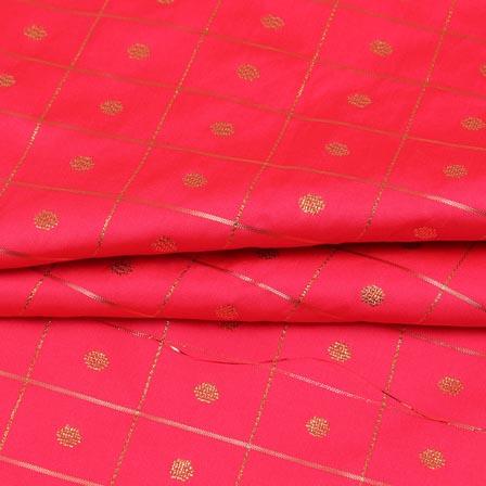 Pink Golden Zari Checks Dot Brocade Silk Fabric-9246