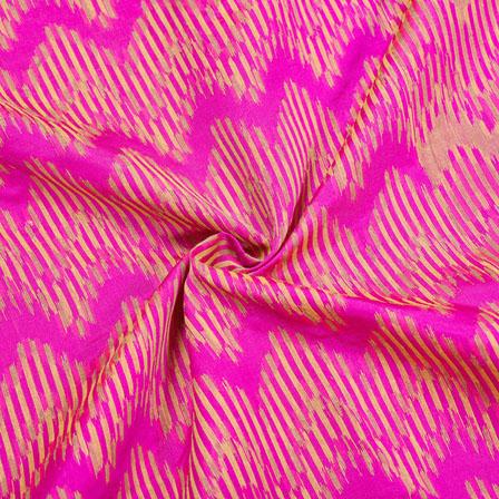 Pink Golden Zig-Zag Jaquard SIlk Fabric-12438