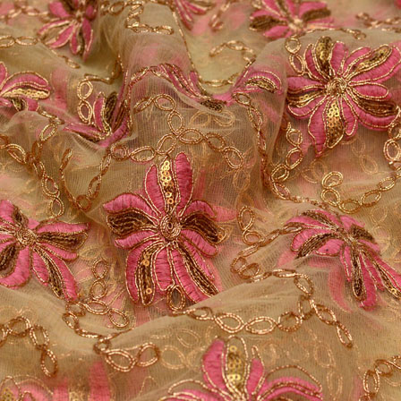 Pink-Golden and Beige flower Shape embroidery net fabric-5223