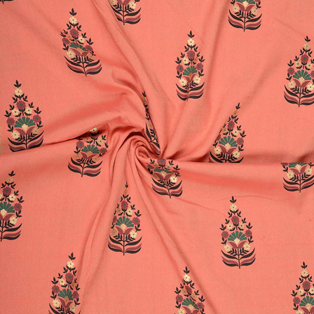 Pink-Golden and Black Flower Design Rayon Slub Fabric-75080