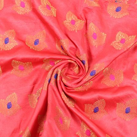 Pink Golden and Blue Banarasi Silk Fabric-8950