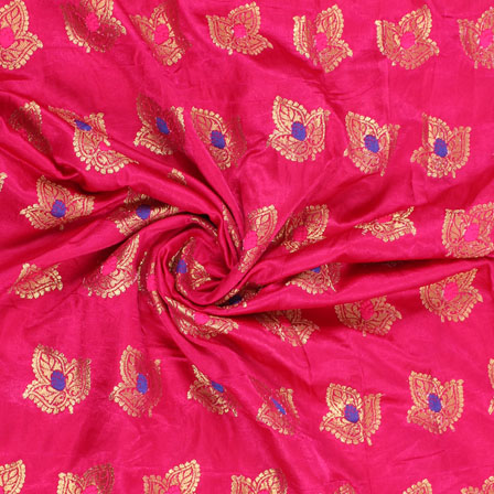 Pink Golden and Blue Banarasi Silk Fabric-8951