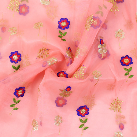 Pink-Golden and Blue Floral Design Embroidery  Silk Organza Fabric-50031