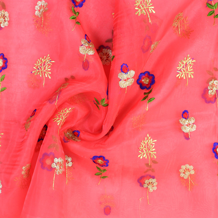 Pink-Golden and Blue Floral Design Embroidery  Silk Organza Fabric-50033