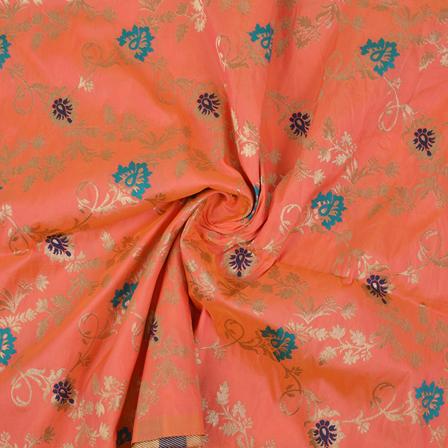 Pink-Golden and Blue Floral Tow Tone Banarasi Silk Fabric-8456