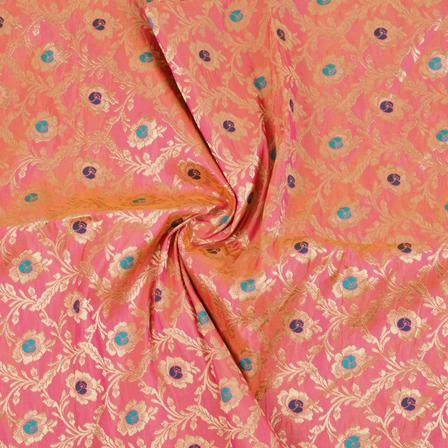 Pink-Golden and Blue Floral Tow Tone Banarasi Silk Fabric-8457