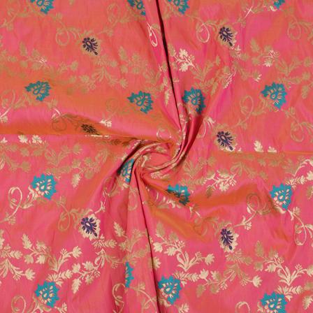 Pink-Golden and Blue Floral Tow Tone Banarasi Silk Fabric-8458