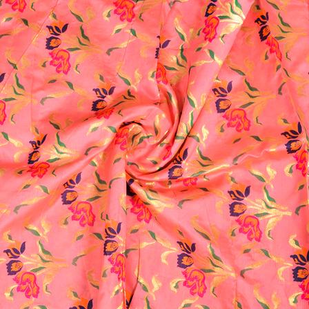Pink-Golden and Blue Flower Design Digital Banarasi Silk Fabric-24041