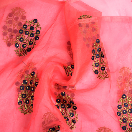 Pink-Golden and Blue Flower Organza Embroidery Fabric-51241