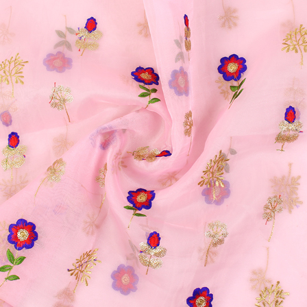 Pink-Golden and Blue Flower Pattern Embroidery  Silk Organza Fabric-50034
