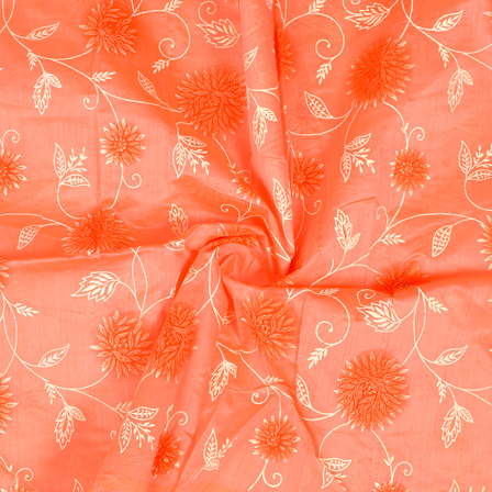 Pink-Silver and Cream Floral Design Chanderi Silk Fabric-9014