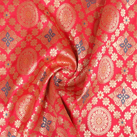 Pink Golden and Cyan Floral Banarasi Silk Fabric-9264