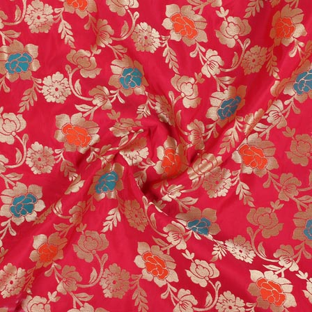 Pink Golden and Cyan Floral Banarasi Silk Fabric-9267