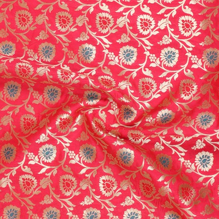 Pink Golden and Cyan Floral Banarasi Silk Fabric-9268