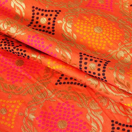 Pink Golden and Cyan Floral Banarasi Silk Fabric-9425