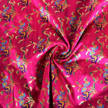 Pink Golden and Cyan Floral Banarasi Silk Fabric-9436