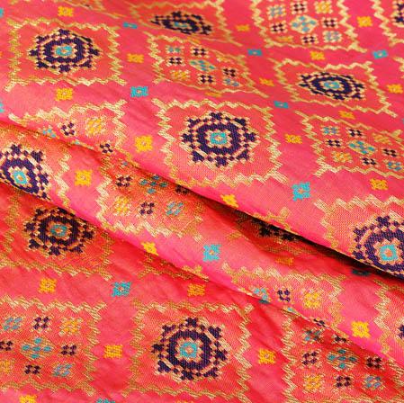 Pink Golden and Cyan Floral Banarasi Silk Fabric-9451