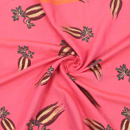 Pink-Golden and Green Cotton Jam Silk Fabric-75173