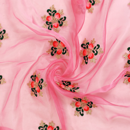 Pink-Golden and Green Embroidery Organza Fabric-51089
